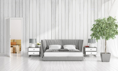 Modern interior design of bedroom in vogue with plant and copyspace in horizontal arrangement. 3D rendering.