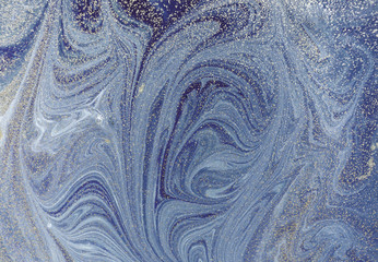 Marble abstract background with golden powder. Nature marbling texture.