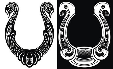 Horseshoe symbol or label. Good luck. Vector illustration