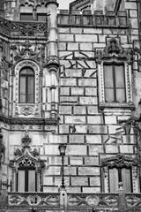 Palace Quinta da Regaleira. Sintra, Portugal. Black and white photo. Details