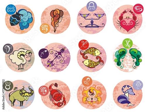 Zodiac Signs Set Of Horoscope Symbols Astrology Icons Collection