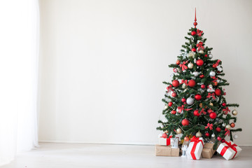 Christmas Decor white room new year tree gifts