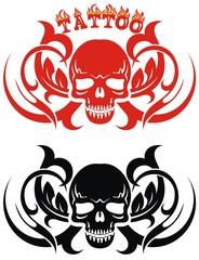 Decorative  illustration of skull on white background. Tattoo style