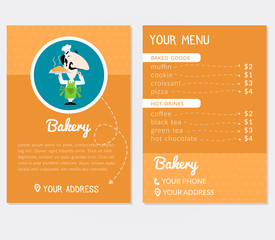 Flyer template for a bakery with cartoon style illustration of an italian baker