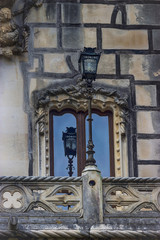 Palace Quinta da Regaleira. Sintra, Portugal. Window and lantern. Details