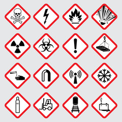 Warning hazard vector pictograms
