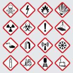 Warning hazard vector pictograms