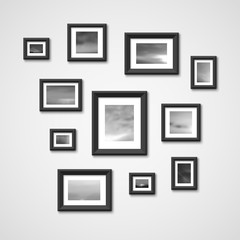 Picture frames with nature photos on wall. Interior design vector illustration