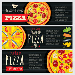 Italian pizza and pizzeria restaurant vector horizontal banners