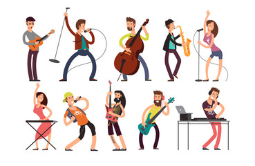 Rock and pop musicians vector cartoon characters. Young guitarists, drummers and singers artists isolated