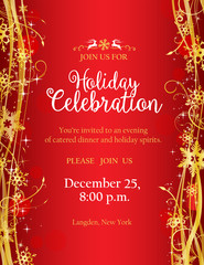Holiday party invitation with with gold decorative snowflakes