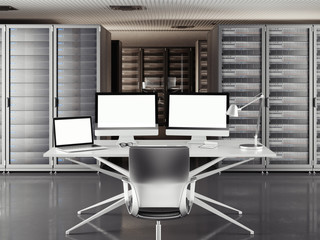 Table with two displays and laptop in a large server room. 3d rendering