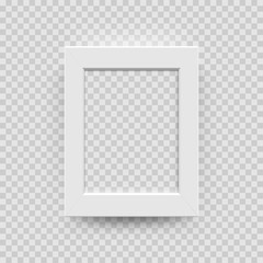 Photo picture frame white paper, plastic or wooden 3D template isolated on transparent background. Vector vertical square photo frame box model for interior design