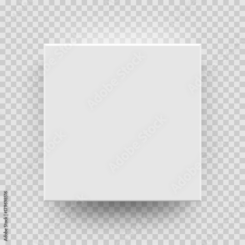 White Box Mock Up Model 3D Top View With Shadow Vector Isolated Blank Cardboard Open