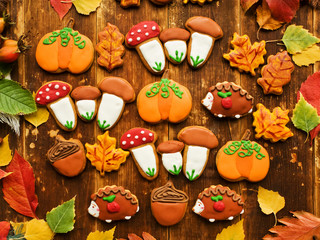 Autumn gingerbread cookies