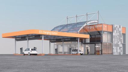 3d Rendering of a EV Charging Station. 3D render.