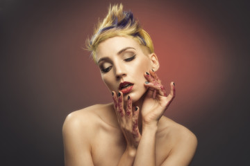 Young Woman With Glittered Hands And Lips