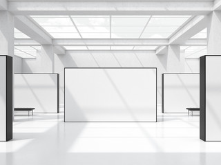 Bright exhibition hall with windows in the ceiling. 3d rendering