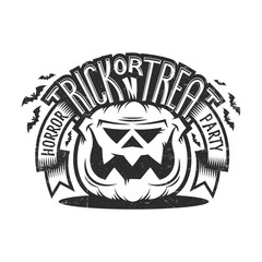 Trick or treat Halloween emblem in  vintage style with smiling pumpkin, ribbons, bat silhouettes and lettering. Worn effect on a separate layer and can be easily disabled.