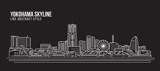 Cityscape Building Line art Vector Illustration design - Yokohama city skyline