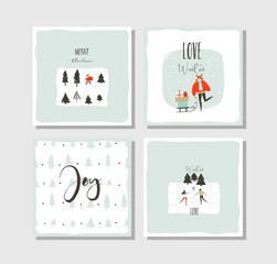 Hand drawn vector abstract fun Merry Christmas time cartoon cards collection set with cute illustrations,surprise gift boxes ,Christmas trees and modern calligraphy isolated on white background