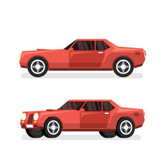 Red sports powerful car with big engine. Vector detailed illustration - side view and pseudo 3d in  half turn.