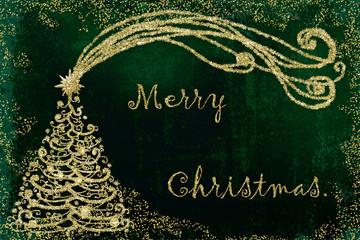 Christmas tree Merry Christmas card.