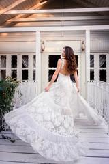 Beautiful girl in amazing dress outdoor
