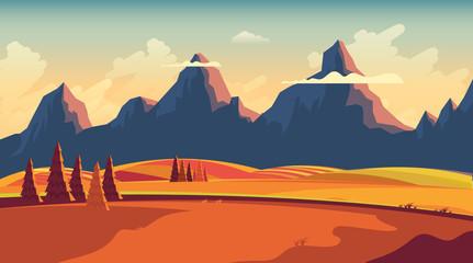 Flat Vector Landscape Illustration in Autumn