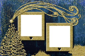 Christmas 2 photo frames cards.