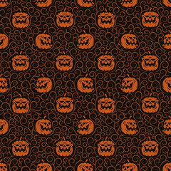 Unusual vintage halloween logo with pumpkin and lettering. Variants for dark and light backgrounds. Worn texture on  separate layer and can be easily disabled.