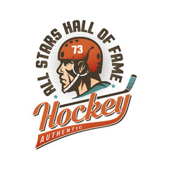 Authentic vintage hockey logo with player's head in retro helmet and inscriptions around.