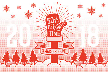 Christmas discount poster with Santa Claus mitten, ribbon and winter landscape. Xmas card in retro style with halftone dots.