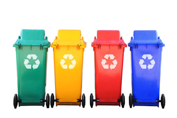 colorful recycle bins with logo isolated save clipping path