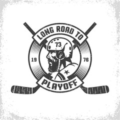 Hockey  playoff retro emblem with bearded player, crossed sticks and heraldic circular ribbon. Worn texture on  separate layer and can be easily disabled.