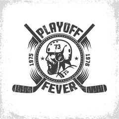 Hockey logo in vintage style with head of player and crossed sticks. Inscription is  - playoff fever. Worn texture on  separate layer and can be easily disabled.