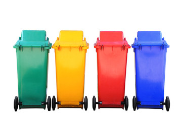 colorful recycle bins isolated with clipping path