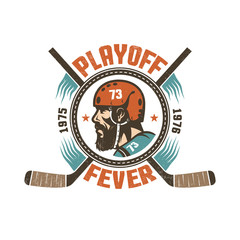 Vintage hockey playoff mascot -  bearded  player in retro helmet with  crossed hockey sticks. Worn texture on  separate layer and can be easily disabled.