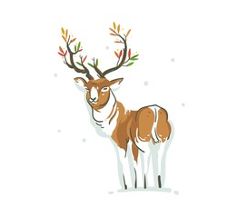 Hand drawn vector abstract fun Merry Christmas time cartoon illustration with young reindeer and branch antlers with leaves isolated on white background