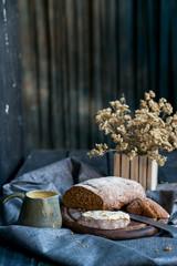 Studio shot breakfast with sandwich and coffee