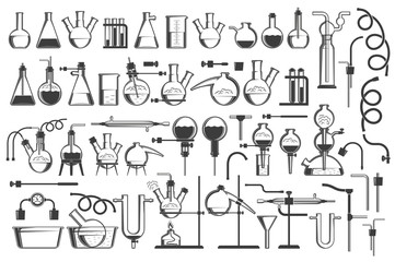 Chemical science design elements great set - equiment, flasks, retorts, containers, racks, hoses and so on.