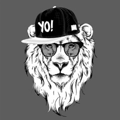The poster with the image lion portrait in hip-hop hat. Vector illustration.