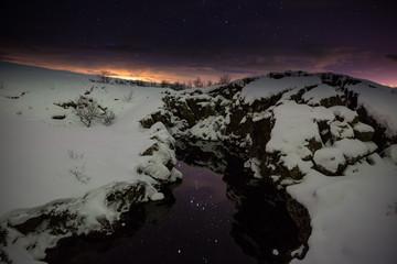 Das Sternbild Orion im Spiegel eines kleinen Flusses - Thingvellir - Island (Winter)