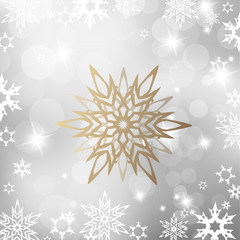 Christmas light background with white snowflakes and one golden snowflake
