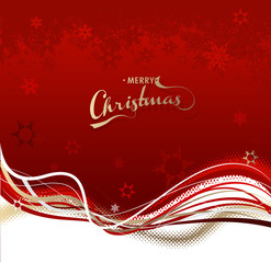 Christmas background with red snowflakes and colorful lines.