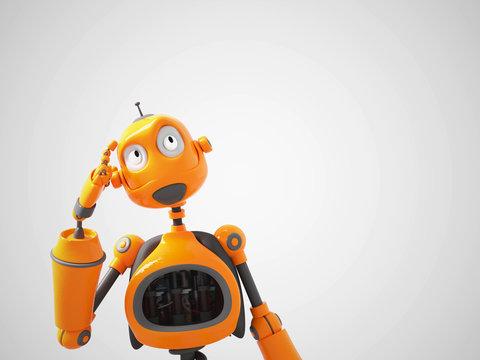 Yellow cartoon robot thinking about something.