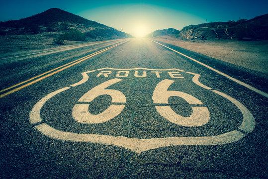 Route 66 vintage colour effect into the sun