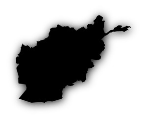 Karte von Afghanistan mit Schatten