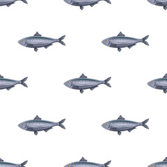 Seamless pattern flat herring fish isolated on white background. Marine fresh food