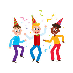 vector flat boys kids dancing in casual clothing and party hat with confetti around smiling. Little dancer male characters. Isolated illustration on a white background. Kids party concept